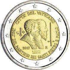 Vaticano Busta 2€ cc 2017 – Martirio San Pedro y San Pablo Money Notes, Euro Coins, San Pablo, Commemorative Coins, World Coins, Coin Collecting, Bronze, Money, Report Cards