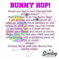 Bunny Hop Scentsy party Norihalbert.scentsy.us great way to stock up on new spring 2016 fragrances!