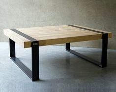 Table basse rectangulaire en bois recycl teck et m tal - Table design bois metal ...