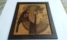 Tema egipcio pirografado em MDF com moldura (35 x 50 cm)