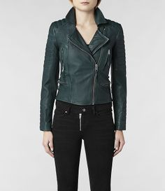 AllSaints Forest Leather Biker Jacket | Womens Leather Biker Jackets:  Unusual color and nice asymmetry.