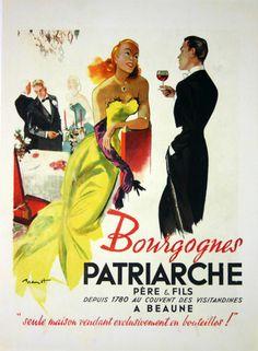 Affiche Bourgognes Patriarche - vin - illustration de  Brenot - 1945 -