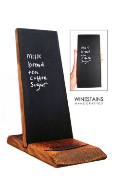 Made from recycled wine barrels - this perfect list-sized tablet will replace any number of scraps on desktops, refrigerators, bedside tables. Also great for leaving those last minute messages for your family. The chalk board tablet is removable from its base, allowing you to write freely. https://www.etsy.com/au/listing/153707343/chalk-board-tablet