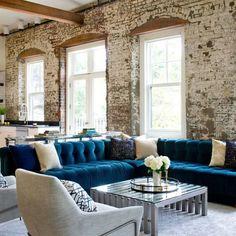 60+ Modern Living Room Decor Ideas - Blue sectional contemporary living room