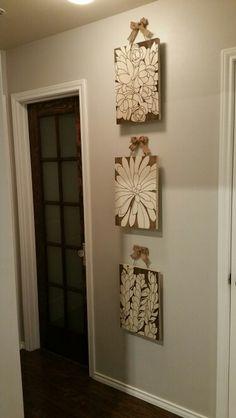 Hiding thermostat and door bell, and  refinished bathroom door