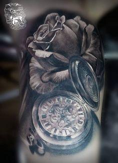 Realistic rose and pocket watch tattoo- Malan Tattoo Dublin, Michal Malanowski