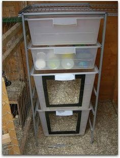 IKEA Hackers: One for the coop - Very cool idea!  It would be easy to move a broody, and the extra storage helps!