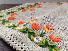 Swedish embroidered table napkin featuring by TextilesVintage