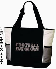 Hey, I found this really awesome Etsy listing at http://www.etsy.com/listing/160261140/football-mom-bag-large-tote-glitter-free