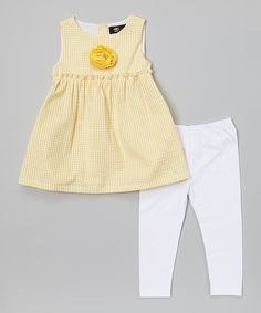 Look at this #zulilyfind! Yellow Gingham Tunic & White Leggings - Girls by A.B.S. by Allen Schwartz #zulilyfinds