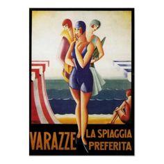 Poster de viagens do vintage, art deco italiano de Zazzle.com.br