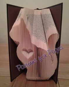 Book folding pattern for CAT WITH A HEART by PatternsForPages on Etsy