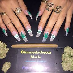 """Lil Debbie had these weed-themed acrylic nails painted by Gimmedatbecca. There are green pot leaves on alternating nails interspersed with the words """"High Times / Match 'Em"""" Lil Debbie, Coffin Shape Nails, Coffin Nails Long, Long Nails, Cute Nails, Pretty Nails, My Nails, Weed Nails, Nail Designs Tumblr"""
