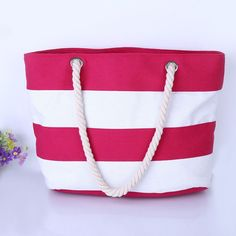 Large Beach Stripes Canvas Bag - FREE Shipping!