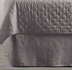 Garment-Dyed Linen Bed Skirt- graphite