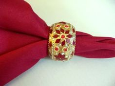 Gold and Burgundy Red Mosaic Beaded Napkin Rings, Singles