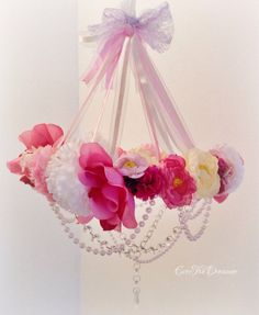 Princess Posey Rose Petal chandelier mobile shabby chic baby nursery girls bedroom decor handmade on Etsy, $94.94 AUD