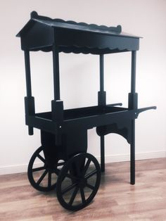 Dark & mysterious painted wooden vintage wedding sweet candy cart that can be painted any colour you wish! Beautifully hand crafted & a unique point of sale. It reminds me of the Chitty Chitty Bang Bang evil sweet man :) www.madebynook.co.uk