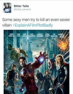 Explain a film plot badly avengers memes, marvel memes, loki god of mischief, Funny Marvel Memes, Marvel Jokes, Dc Memes, Avengers Memes, Marvel Avengers Assemble, Marvel Dc, Movie Plots Explained Badly, Explain A Film Plot Badly, Bad Film
