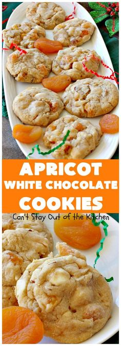 Apricot White Chocolate Cookies include white chocolate chips, dried apricots and almonds for spectacular flavor & texture. Perfect for holiday baking. Yummy Cookies, No Bake Cookies, Cake Cookies, White Chocolate Desserts, White Chocolate Chips, Chocolate Food, Chocolate Cupcakes, Banana Cupcakes, Chocolate Lovers