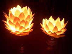 Table decorations paper flowers wit light
