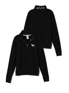 PINK Boyfriend Half-Zip in Black $44.95