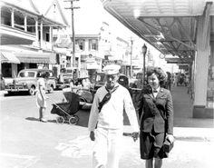 U. S. Navy couple walking together in downtown Key West, Florida