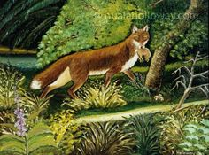 """A Cunning Catch"" by Nuala Holloway - Oil on Board #Fox #IrishArt #Wildlife"