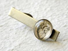 Vintage Anatomy Men's Tie Clip in Antique Silver - Anatomical Heart RESERVED for Lucy