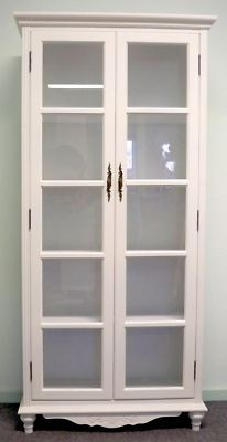 Shabby & Chic Display Cabinet Glass French Provintial White Furniture Cj80002/s