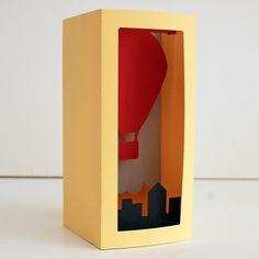 3D card: Balloon over the city