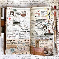 Bye bye March! #travelersnotebook #midoritravelersnotebook #midori #collageart #collageart #collage #planner #plannerlove #happyplanner #travel #memories #snailmail #mailart #stamp #scrapbooking #scrapbook #