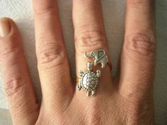 Silver turtle ring with an elephant by stavroula on Etsy, $19.00. I love Tori for showing me this!!