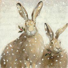 Sweet Winter Hares Illustration