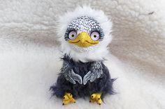 Eagle OOAK Art Doll  Mixed Media  Polymer clay fabric by Ermellin