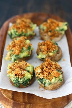 These vegan stuffed mushrooms are perfect for your next party! They're stuffed wtih potatoes and spinach and topped with buttery breadcrumbs.