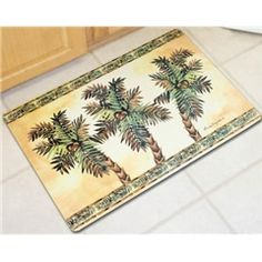 Palm Tree Cushion Mat, kitchen laundry comfort rug