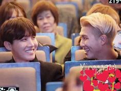 Hobi and Namjoonie THAT LADY IN THE BACK IS LIKE MMMM TWO CUTE BOYS IN FRONT OF ME ARE THEY KPOP PPL