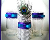 Peacock Wedding Centerpieces, Peacock Decorations, Peacock Party Centerpiece (Set of 3) - Silver Bling Wedding Decor & Party Décor
