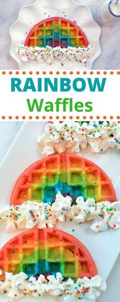 Rainbow waffles are a magically delicious way to start off your day. These colorful waffles are perfect for birthday parties or St. Rainbow Sweets, Rainbow Snacks, Rainbow Waffles, Rainbow Food, Cake Rainbow, Rainbow Baking, Rainbow Desserts, Rainbow Things, Rainbow Birthday Party