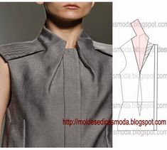Stampi di moda per misurabuilt-in tie shirt drape drape - Salvabranidress with a tie and a pattern of corsages deniz - PIPicStats Diy Clothing, Sewing Clothes, Clothing Patterns, Dress Patterns, Sewing Patterns, Fashion Sewing, Diy Fashion, Formation Couture, Costura Fashion