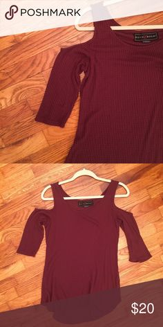 Open shoulder shirt Perfect condition. Bought at the buckle in February, only wore once. Size large but fits like a medium. Goes right above the elbow. It's maroon and super cute! Polly & Esther Tops Blouses