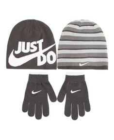 9aca76d6033 Nike Big Boys 2-Pc. Reversible Beanie Hat   Gloves Set - Gray Big