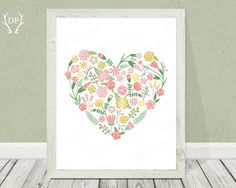 Floral heart, printable love wall art, home decor, flower wreath, pastel pink girly, art print instant download on Etsy, $5.00