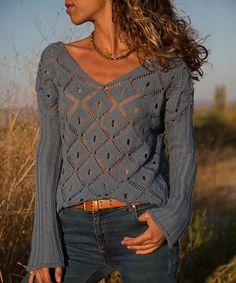 Stand out from the crowd during your chilly-weather outings in this cozy sweater that shows off a bold openwork geometric motif.Styling note: This item is semi-sheer. Long Sleeve Sweater, Sweater Cardigan, Men Sweater, Jumper, Cozy Sweaters, Sweaters For Women, Pulls, Indigo, Latest Trends