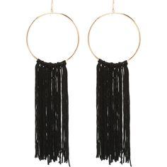 Fringe Hoop Earrings ($24) ❤ liked on Polyvore featuring jewelry, earrings, accessories, fringe earrings, bebe jewelry, fringe jewelry, earring jewelry and bebe