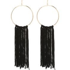 Fringe Hoop Earrings (32 CAD) ❤ liked on Polyvore featuring jewelry, earrings, accessories, earrings jewelry, fringe earrings, bebe, fringe jewelry and hoop earrings