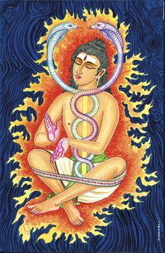 Most of us have heard of Kundalini yoga. It is called the 'yoga of awareness' because it seeks to awaken the dormant Kundalini explained here. Kundalini Tattoo, Kundalini Yoga, Pranayama, Shiva Shakti, Shiva Art, 7 Chakras, Photo Merge, Psychedelic Drugs, Spiritual Teachers