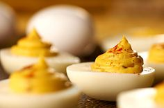 Creamy Deviled Eggs with Miracle Whip and Sweet Pickle Relish. My mom always kept a plateful covered with Saran wrap in the fridge.