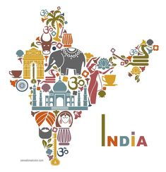 Illustration about Traditional symbols in the form of a map of India. Illustration of drum, palm, flowers - 43099304 India Country, Gangtok, Amazing India, Incredible India Posters, Amazing Photos, India Design, India Culture, Thinking Day, The Incredibles